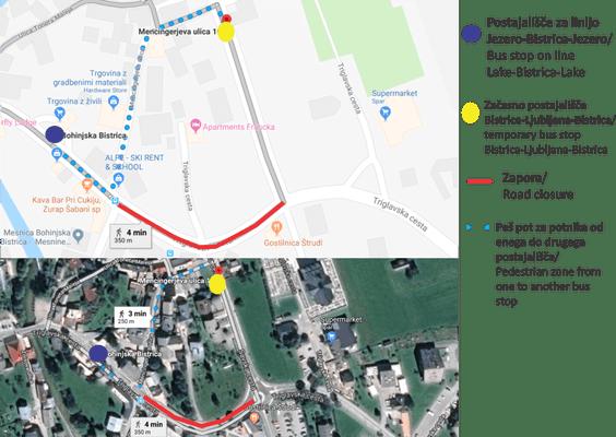 Obveščamo vas, da se od 18.9.2018, zaradi popolne zapore ceste v Bohinjski Bistrici,spreminjaavtobusni vozni red. Uvaja se dodatnanova avtobusna postaja(AP). Prehod med staro in novo AP potnikiprehodijo pešmimo mesta zapore.