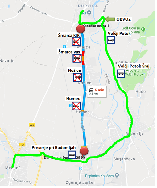 Dear passengers please be informed that on the20. 9. 2018, from 8:00 o'clock on till 22. 9. 2018, there will be aCOMPLEET ROAD CLOSUREof the regional roadŠmarca – Homec.