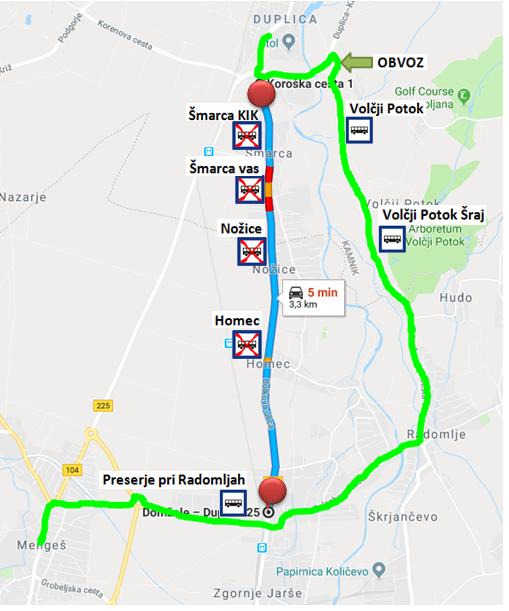 Dne20. 9. 2018, od 8:00 ure dalje do predvidoma 22. 9. 2018, boPOPOLNA ZAPORAregionalne cesteŠmarca – Homec.